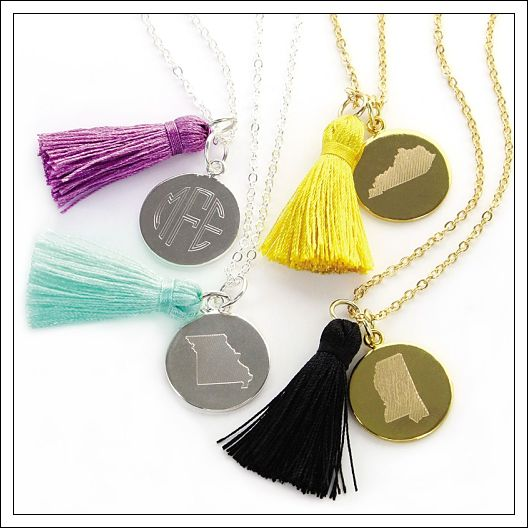 State Charm Necklace & Tassel