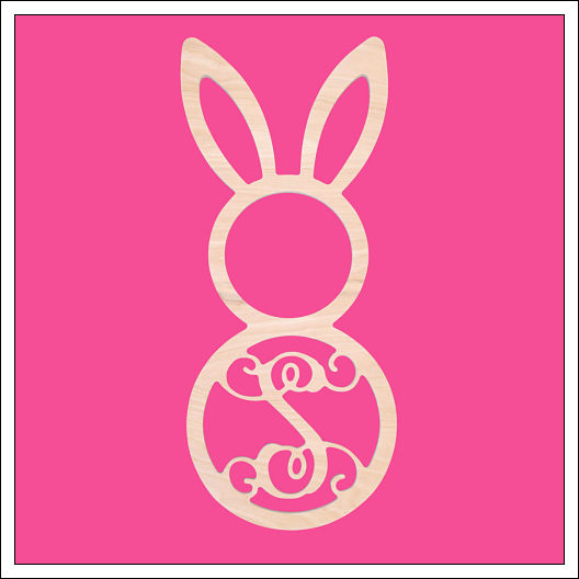 Single Initial Wood Easter Bunny