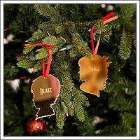 Mirrored Acrylic Boy and Girl Ornaments