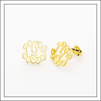 Vinely Monogrammed Lettered Floating Studs