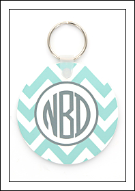 Blue Chevron Acrylic Key Ring