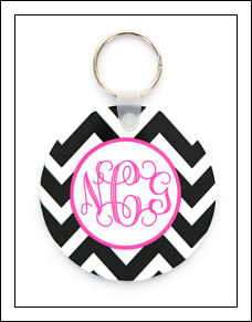 Black Chevron Key Ring
