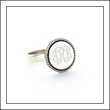 Sterling Silver Braided Round Monogrammed Ring