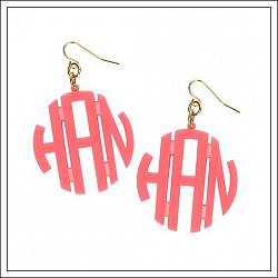 Acrylic Circle Monogram Earrings