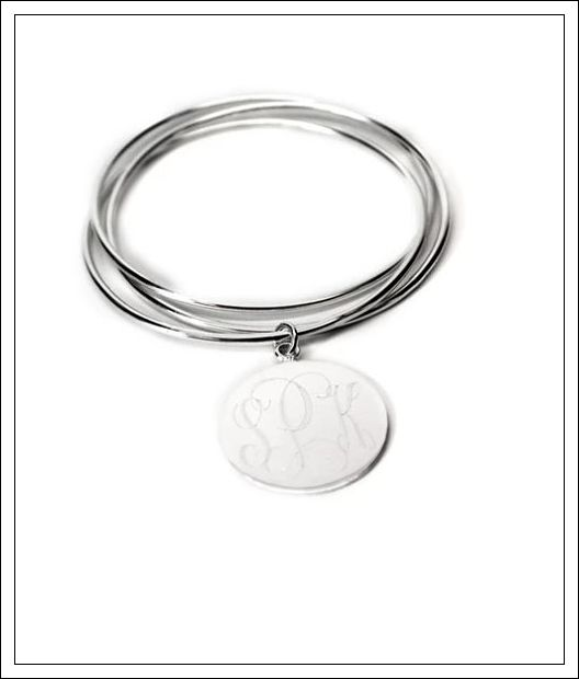 German Silver Triple Bangle Bracelet with Engraved Disc