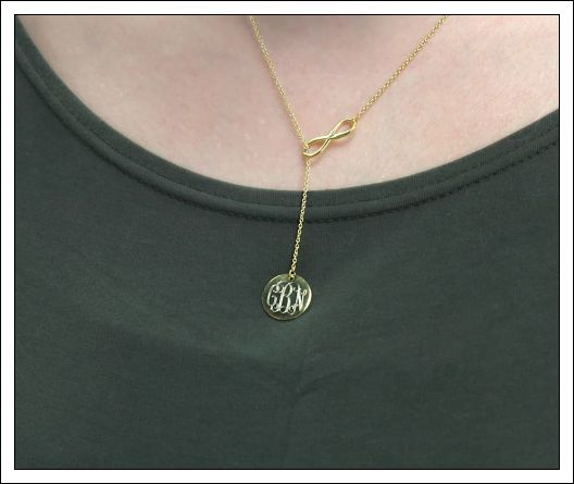 Infinity Drop Engraved Disc Necklace