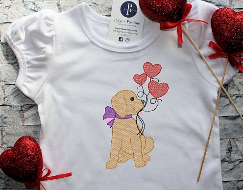 Valentine Pup with Heart Balloons