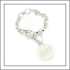 Silver Plated Charm Bracelet with Round Charm