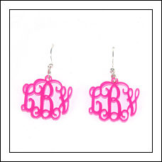 Acrylic Filigree Monogram Earrings
