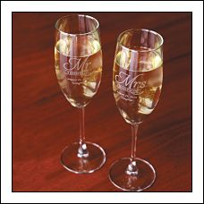 Engraved Fluted Champagne Glasses