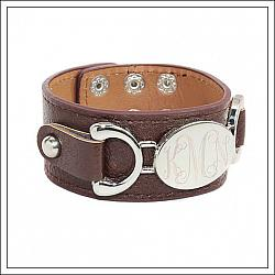 Monogrammed Oval Disc Leather Cuff Bracelet