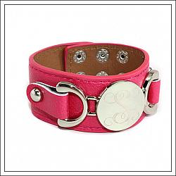 Monogrammed Silver Disc Leather Cuff Bracelet