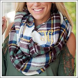 Blue and Wine Londyn Infinity Scarf