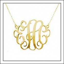Sterling Silver or Gold Plated Monogram Necklace