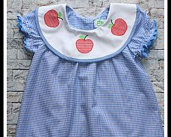 Blue Gingham Dress With Applique Apples