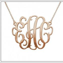 #AJS-SMI04 Rose Gold Monogram Necklace
