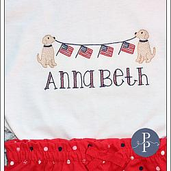 Dogs with American Flag Bunting Banner