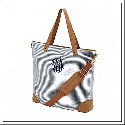 #WB-M450-SNY Navy Seersucker Shoulder Bag